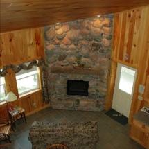 mainland cabin fireplace